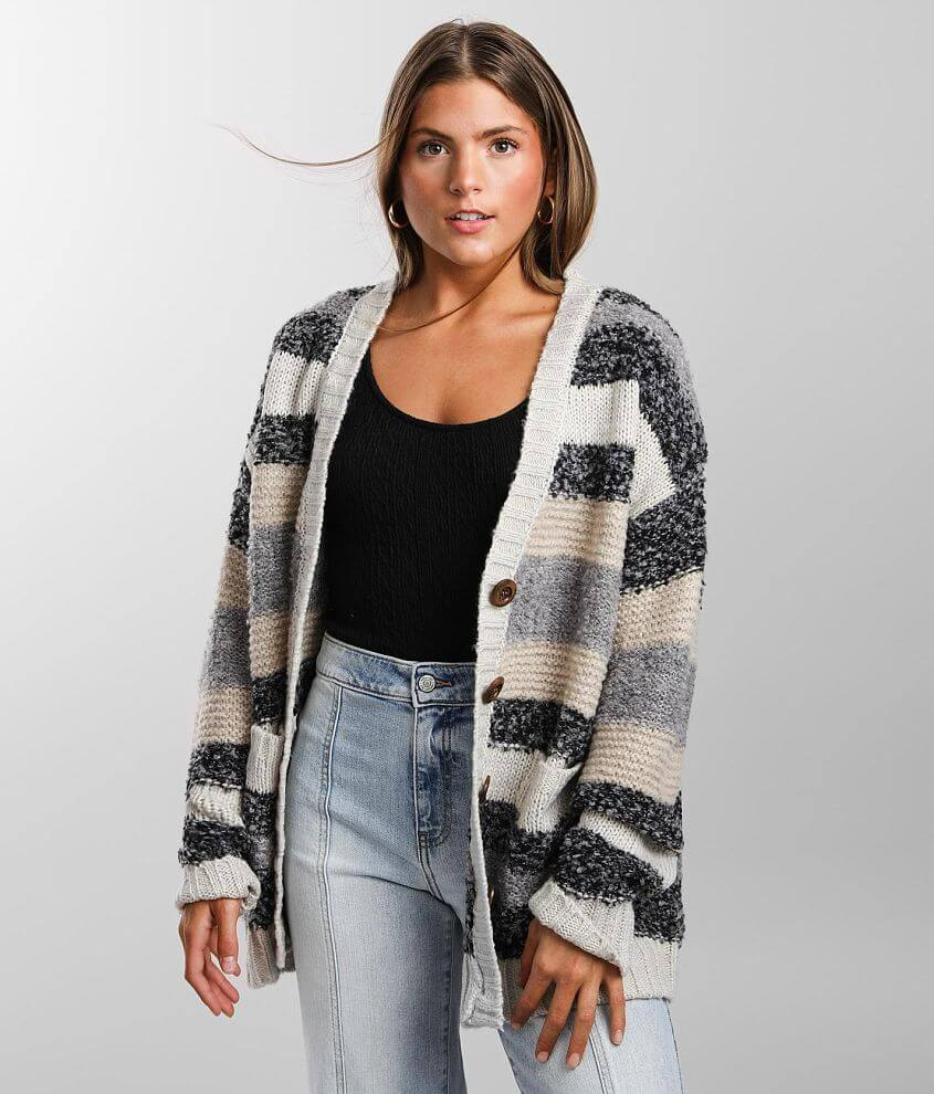 BKE Nubby Striped Cardigan Sweater front view