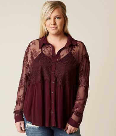 Coco + Jaimeson Lace Shirt - Plus Size Only