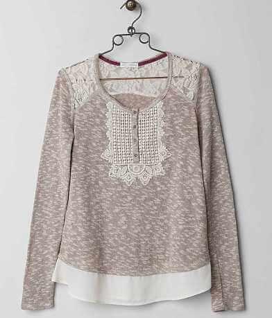 Coco + Jaimeson Crochet Henley Sweater