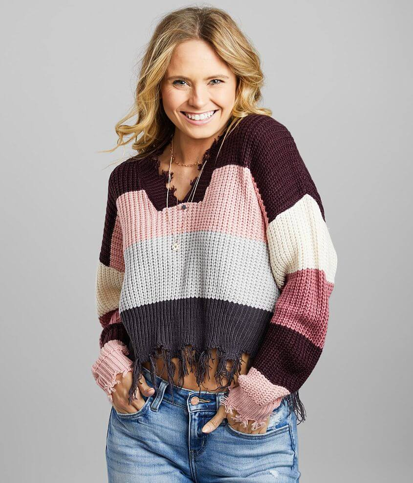 Coco + Jaimeson Color Block Cropped Sweater front view