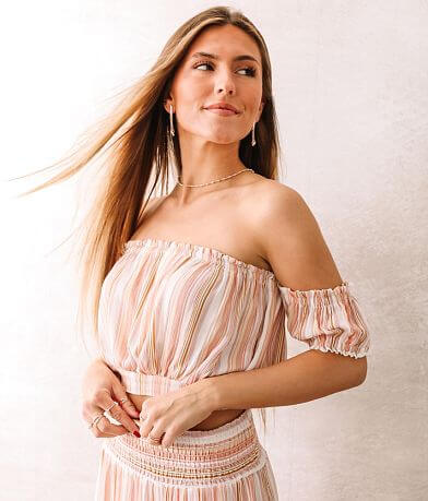 Coco + Jaimeson Striped Off The Shoulder Top