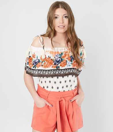 Coco + Jaimeson Floral Cold Shoulder Top