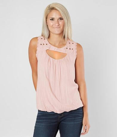 Coco + Jaimeson Cut-Out Woven Tank Top