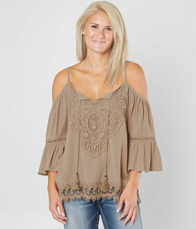 Coco + Jaimeson Cold Shoulder Crinkle Top