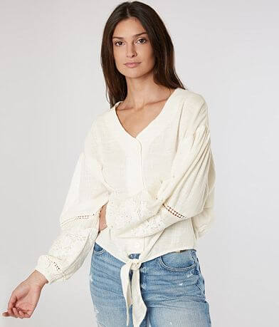 Coco + Jaimeson Textured Button Down Top