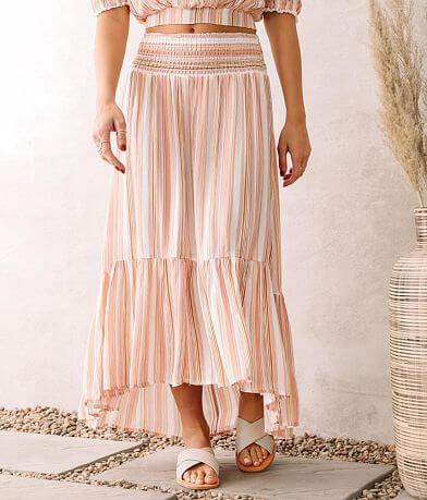 Coco + Jaimeson Woven Striped Midi Skirt