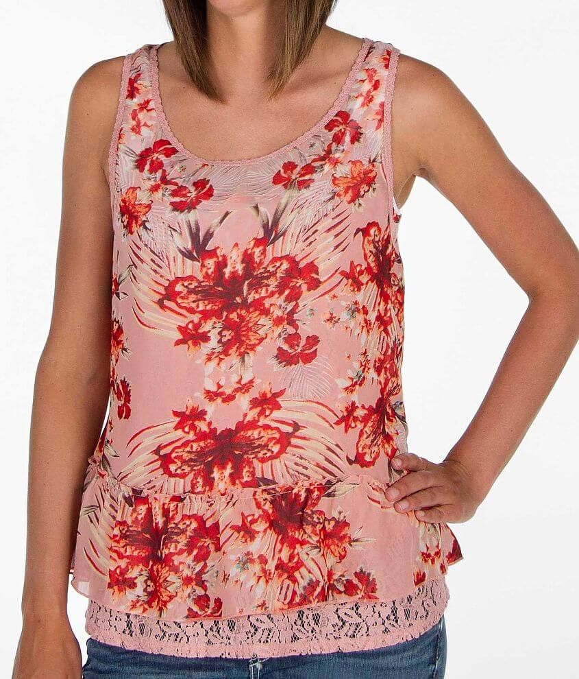 Daytrip Floral Chiffon Overlay Tank Top front view