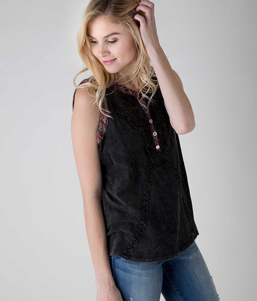 Gimmicks Pieced Henley Tank Top front view
