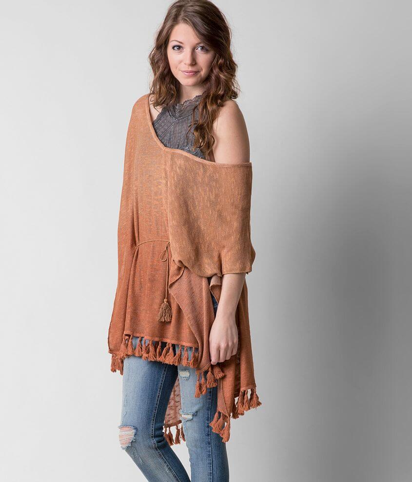 Gimmicks Open Weave Poncho front view