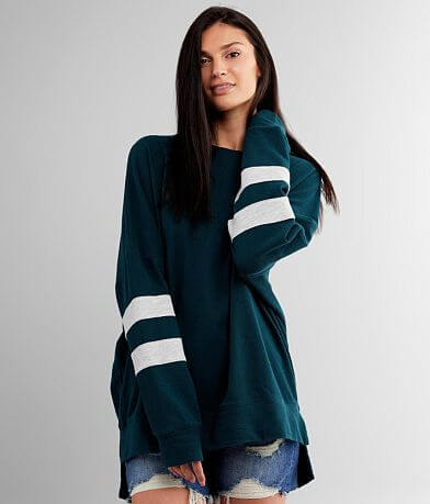 BKE Varsity Striped Drop Shoulder Pullover