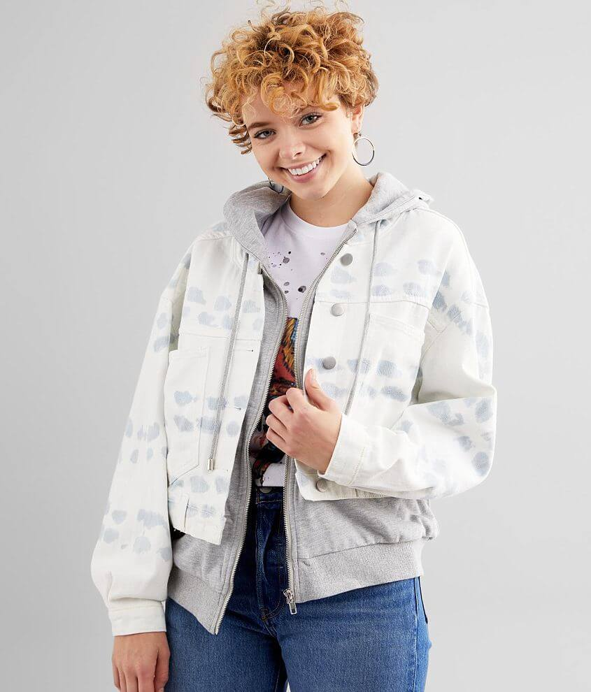 Fate Layered Bleach Washed Denim Hooded Jacket front view