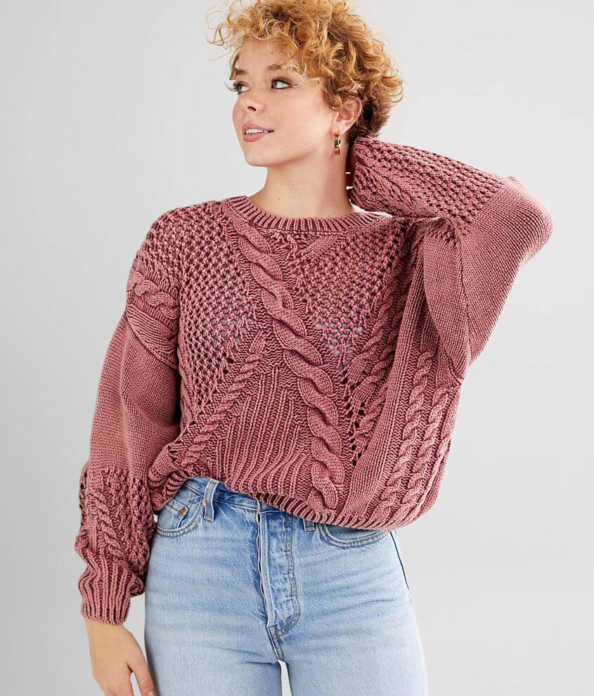 Fate Cable Pointelle Sweater front view