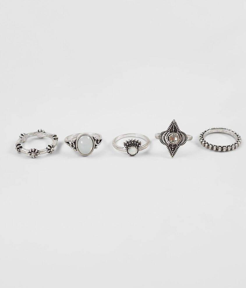 Stle 08984BUC4/Sku 949127 Set of five rings Rhinestone ring measures 3/4\\\