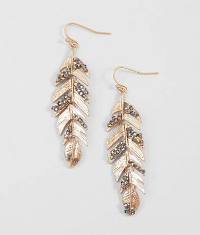 BKE Hematite Feather Earring