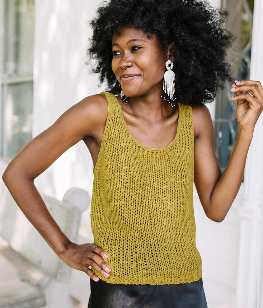 Willow & Root Open Weave Sweater Tank Top front view