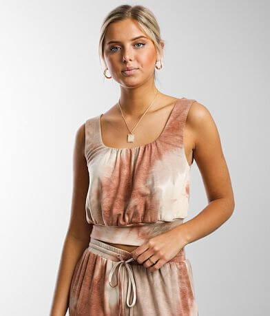 Gilded Intent Tie-Dye Cropped Lounge Tank Top