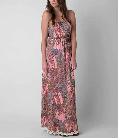 Fire Printed Tube Top Maxi Dress