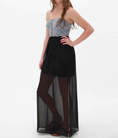 Fire Chiffon Overlay Maxi Dress