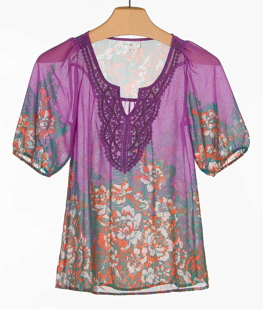 Fire Floral Peasant Top front view