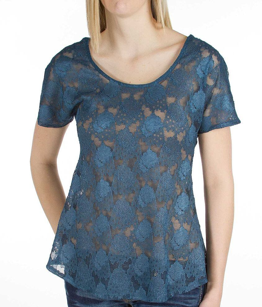 BKE red Lace Top front view