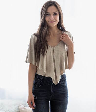 La Ode Ruffle Cropped Top