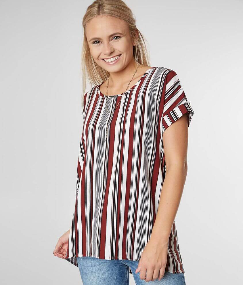 b0c0f3cd2ea Daytrip Vertical Striped High Low Hem Top - Women's Shirts/Blouses ...