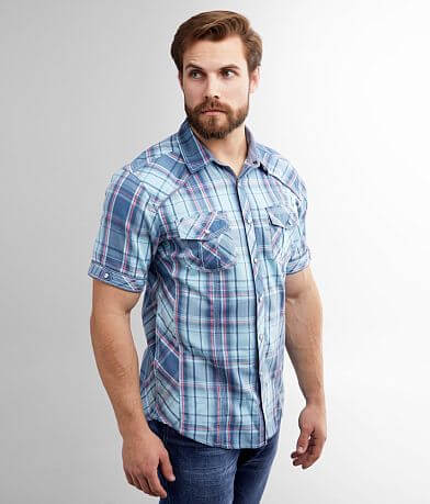 BKE Embroidered Plaid Athletic Shirt