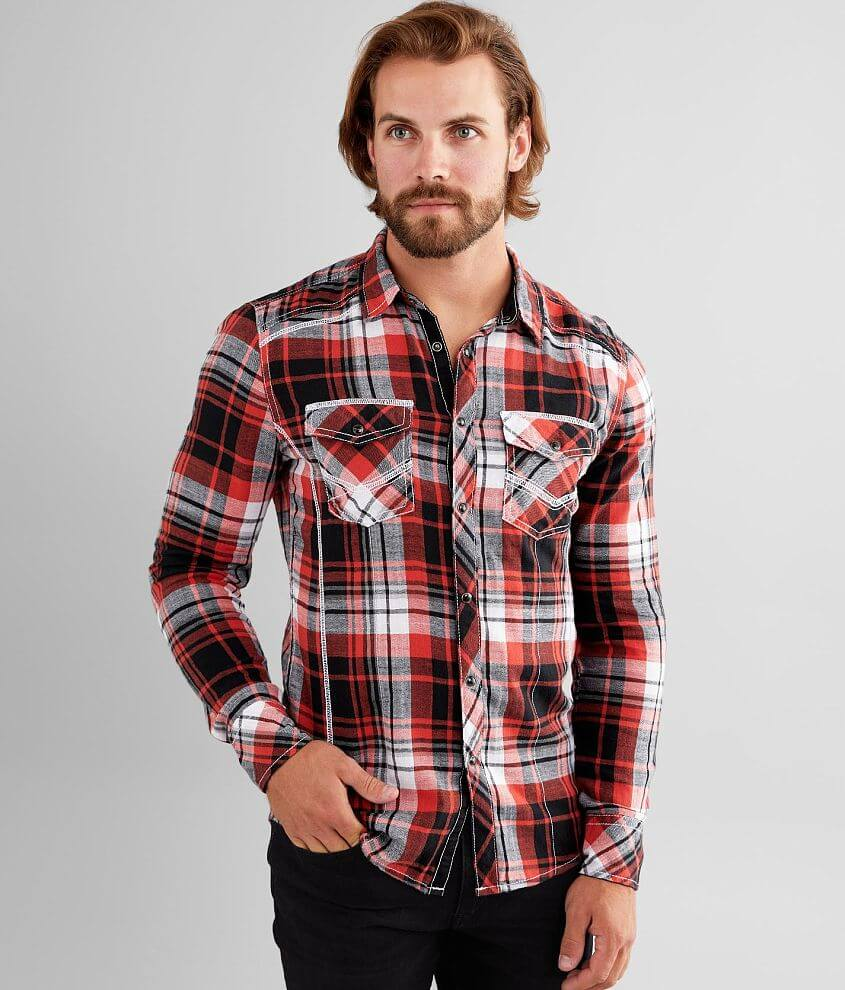 BKE Plaid Tailored Shirt front view