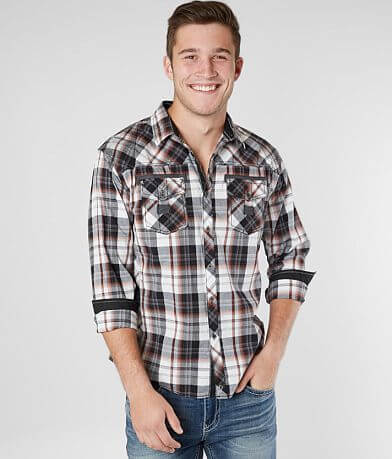 Buckle Black Plaid Relaxed Stretch Shirt