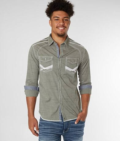 Buckle Black Embroidered Standard Stretch Shirt