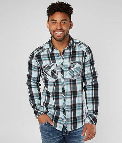 Buckle Black Plaid Standard Stretch Shirt