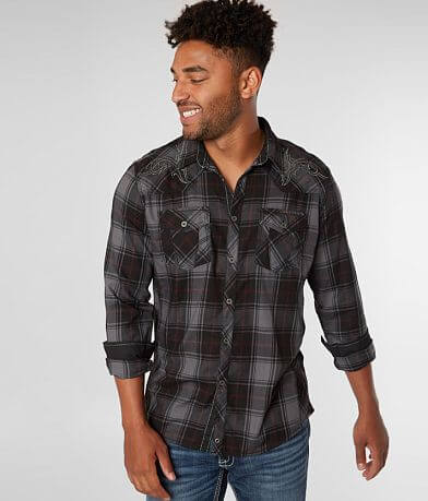 Buckle Black Plaid Athletic Stretch Shirt
