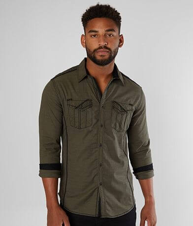 Buckle Black Solid Tailored Stretch Shirt