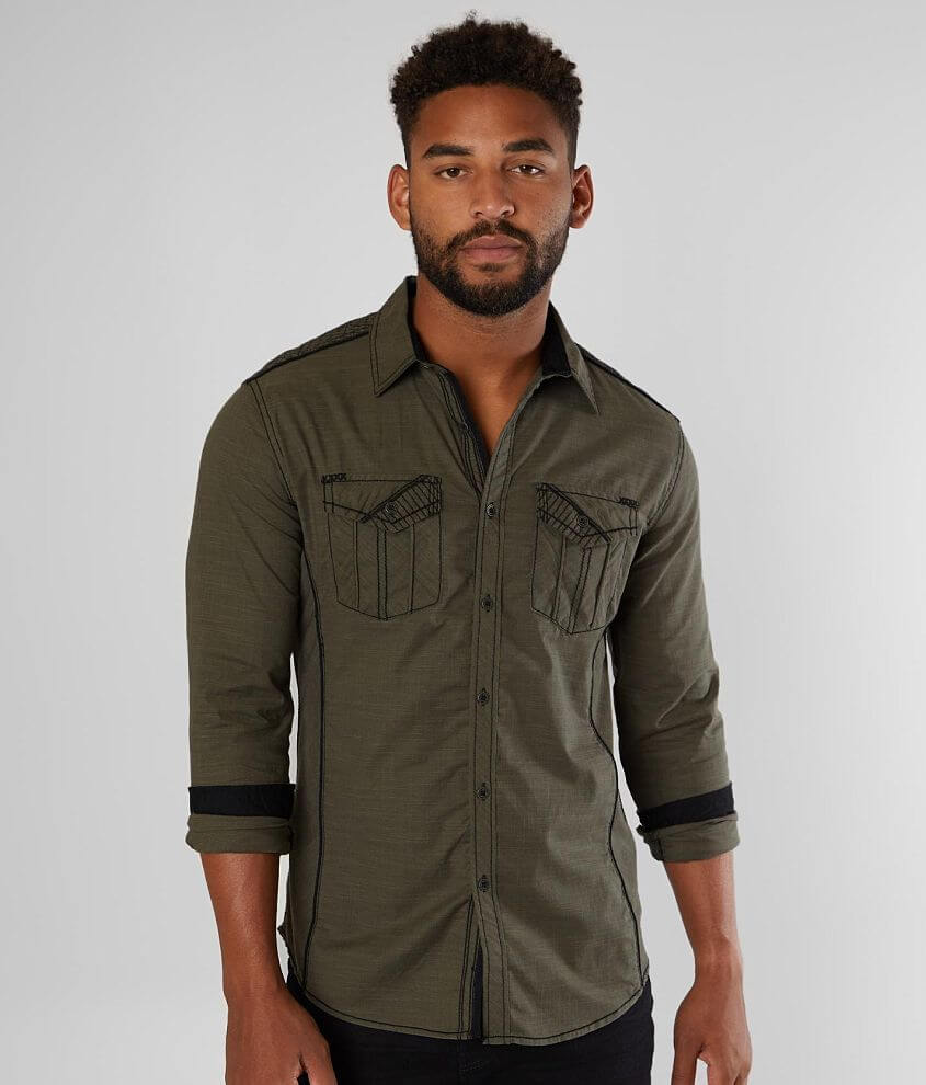 Buckle Black Solid Tailored Stretch Shirt front view