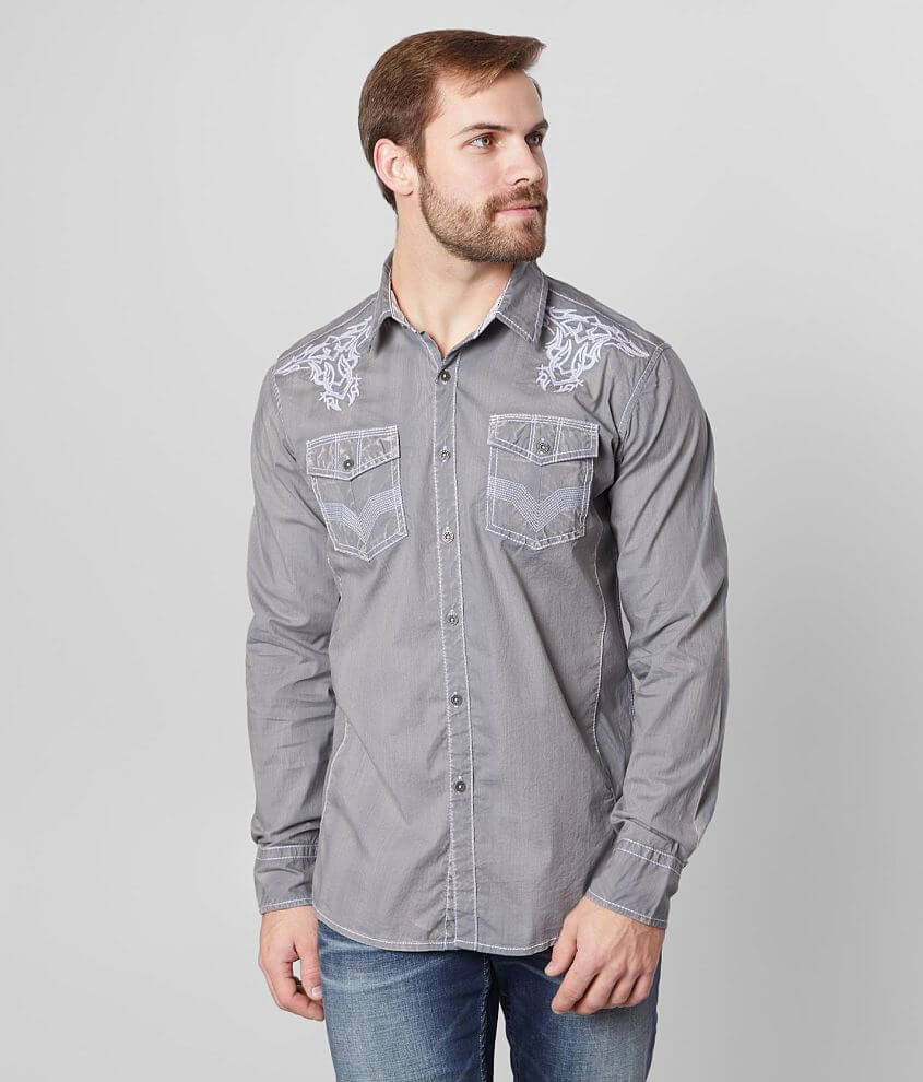 Buckle Black Washed Athletic Stretch Shirt front view