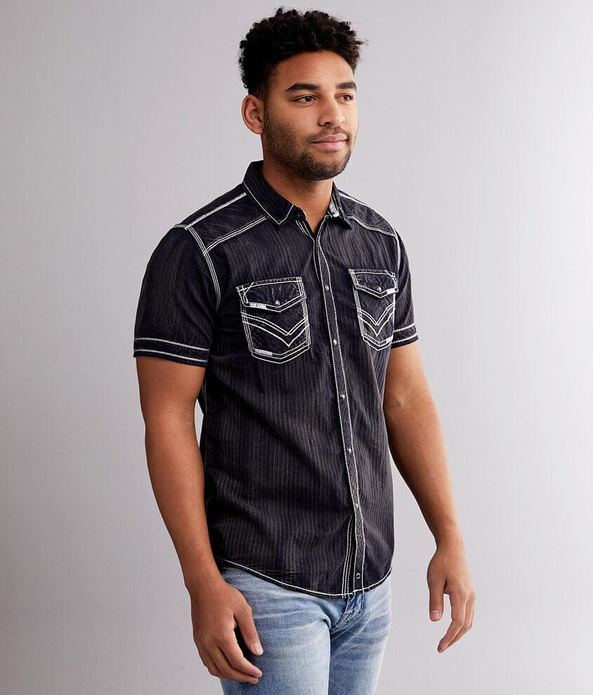 Buckle Black Striped Standard Shirt front view