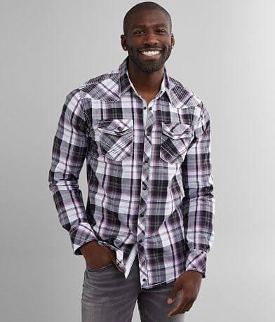 Buckle Black Plaid Standard Stretch Shirt