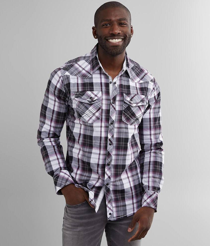 Buckle Black Plaid Standard Stretch Shirt front view