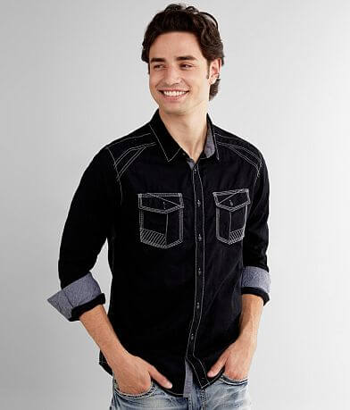Buckle Black Solid Standard Stretch Shirt