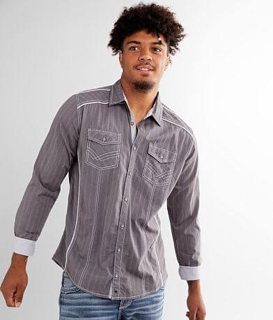 Buckle Black Striped Standard Stretch Shirt