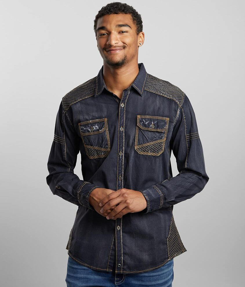 Buckle Black Lava Washed Athletic Stretch Shirt front view