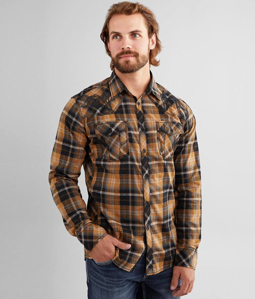Buckle Black Plaid Athletic Stretch Shirt front view