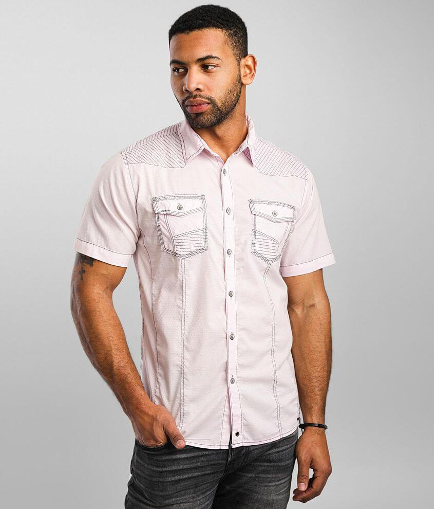 Buckle Black Tonal Jacquard Athletic Stretch Shirt front view