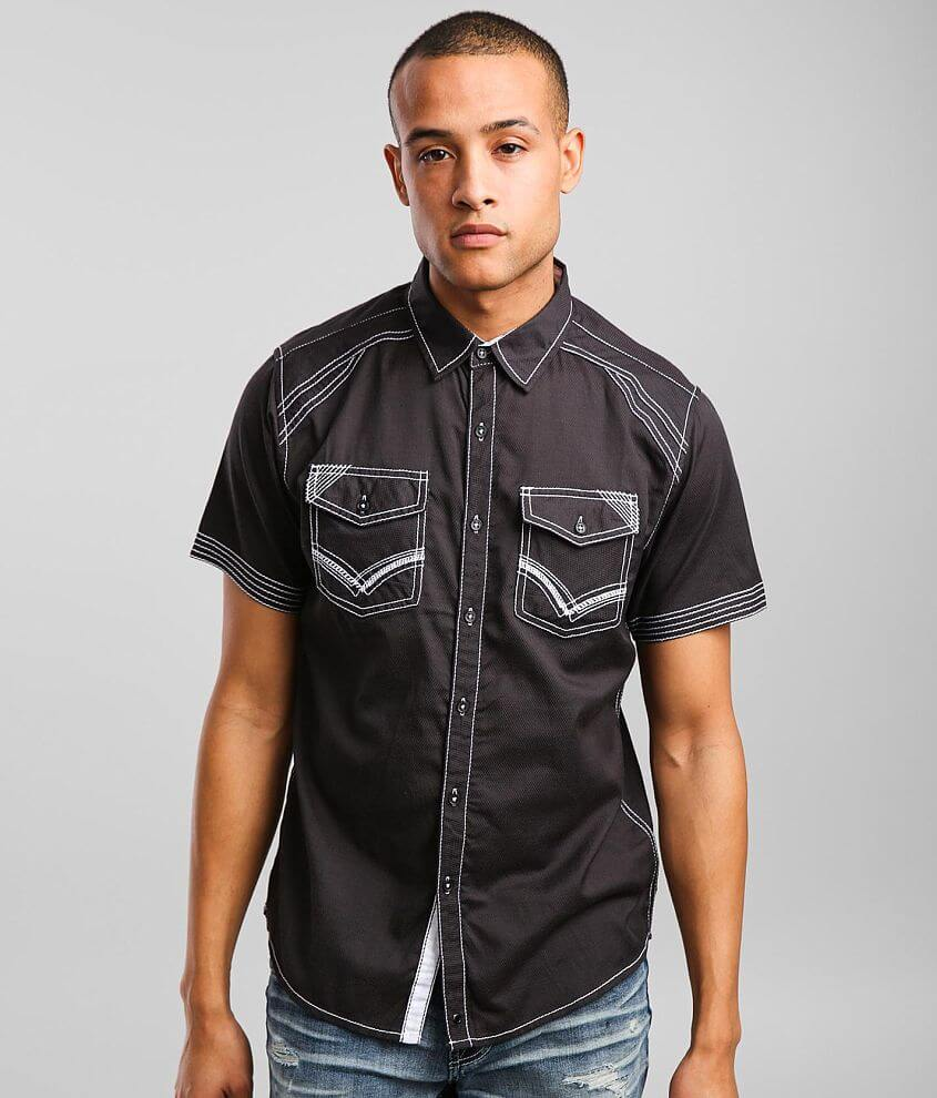 Buckle Black Embroidered Standard Stretch Shirt front view