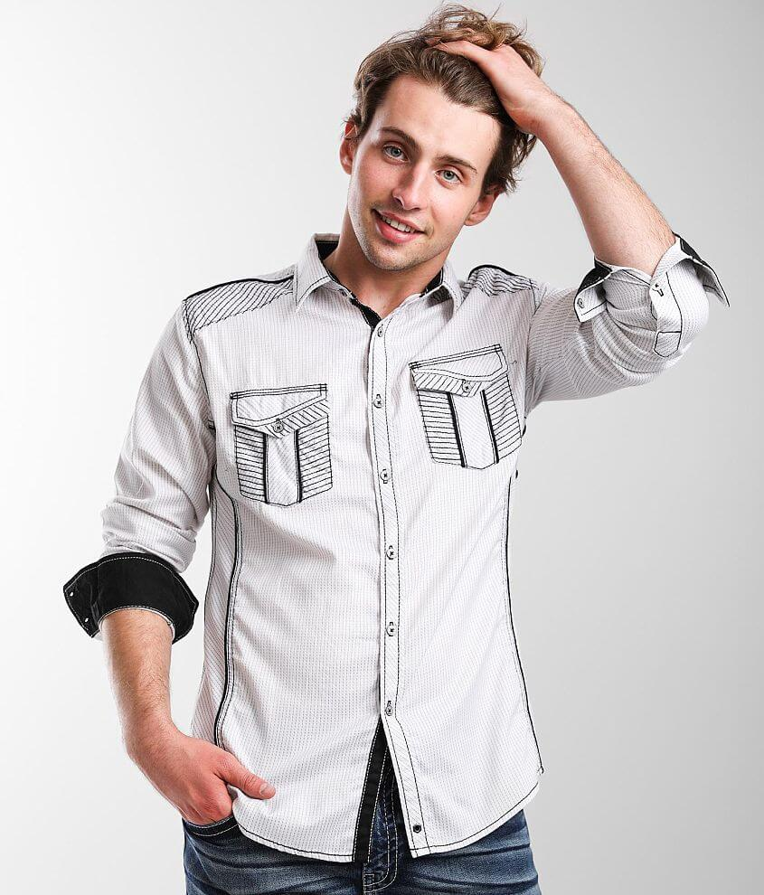 Buckle Black Embroidered Athletic Stretch Shirt front view