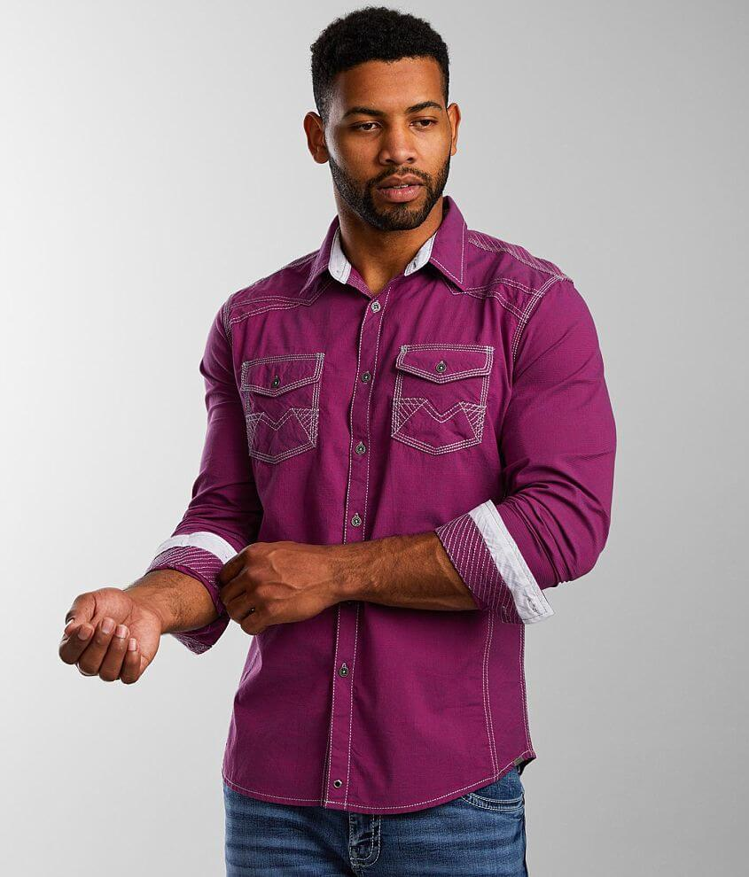 Buckle Black Pinstriped Athletic Stretch Shirt front view