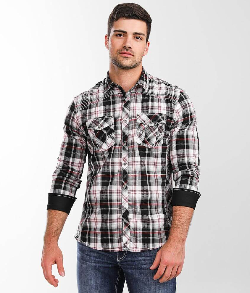 Buckle Black Athletic Plaid Stretch Shirt front view