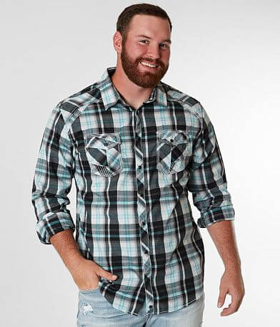 Buckle Black Plaid Stretch Shirt - Big & Tall