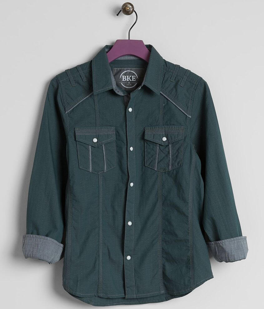 Boys Bke Vintage Holt Shirt Boys Shirts In Hunter Green Buckle