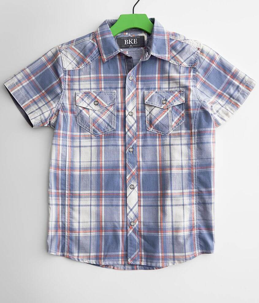 Boys - BKE Washed Plaid Shirt front view
